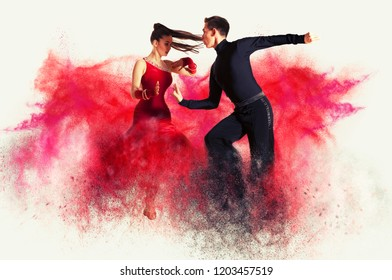 Pair of dancers dancing ballroom. Color dust effect background
