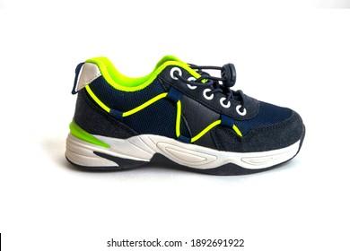 Pair of dark blue toddler boys sports sneakers