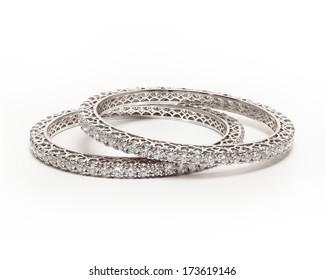 Pair of Diamond bracelet (bangles) with many (diamond)