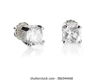 Pair of diamond stud cushion cut white quarts earrings