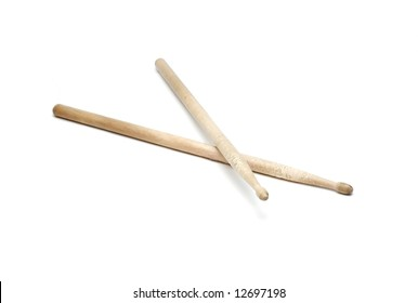 A pair of drumsticks isolated on white