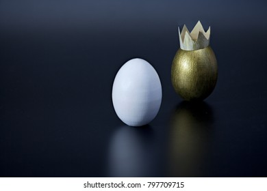 pair of eggs white and golden, minimal concept success, wealth, wedding,
