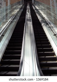 A pair of escalators going up or down.