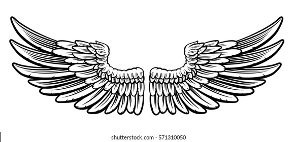 A pair of etched woodcut vintage style wings