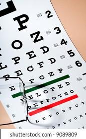 Pair of Eyeglasses Sitting Atop an Eye Exam Chart