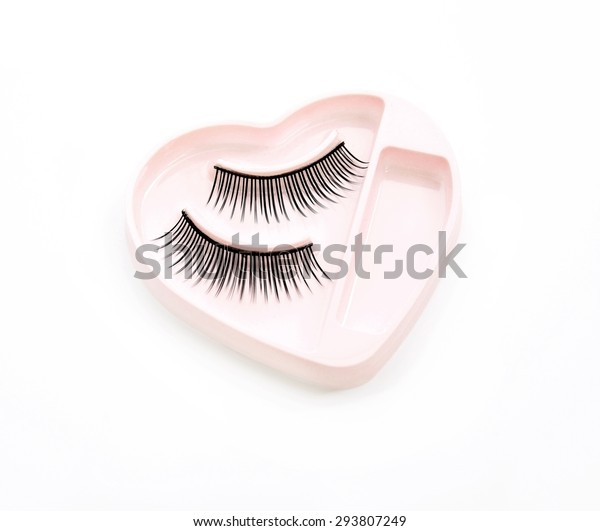 Pair of False Lashes in a Box on a White Background