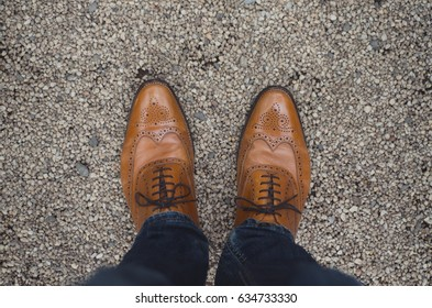 Pair of fancy brogues, formal brogue mens leather shoes