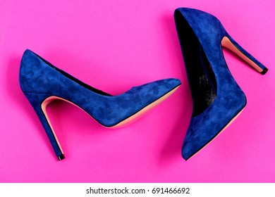 d0685bc70b5 Pair Blue Suede High Heel Shoes Stock Photo (Edit Now) 713128999 ...