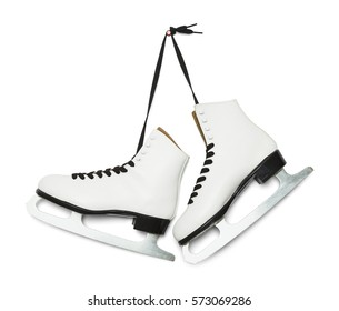 Pair of Figure Ice Skates Hanging Isolated on White Background.