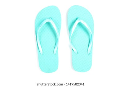 Pair of flip flops isolated on white background