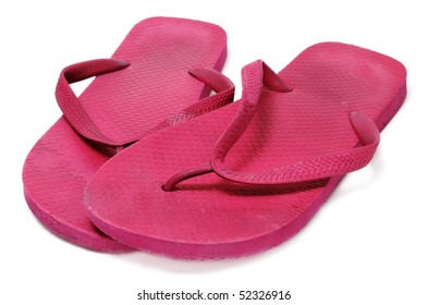a pair of flip-flops floating isolated on a white background