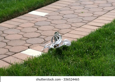 Pair of Formal Shoes Outdoors