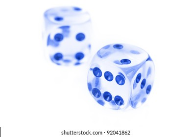 Pair of glass dice against white background