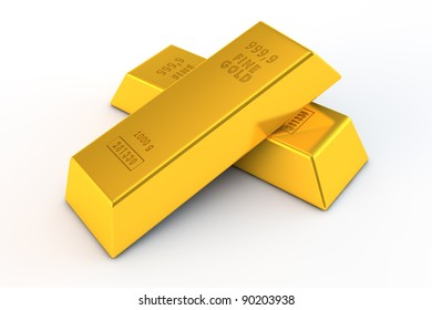 a pair of gold bars on white background - embossed details