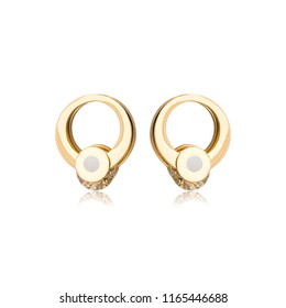 Pair of golden diamond earrings isolated on white background