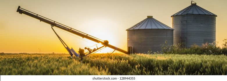 Pair of grain bins and an auger in the middle of a field