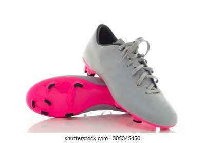8ef700573 Pair of gray leather soccer shoes,Footbal boots. Soccer boot, isolated on  white