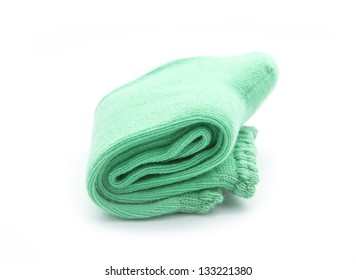 pair of green socks isolated on white background