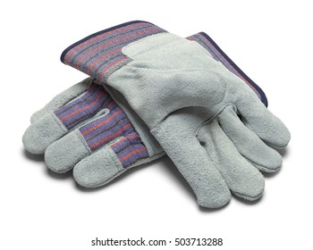 Pair of Grey Leather Work Gloves Isolated on White Background.