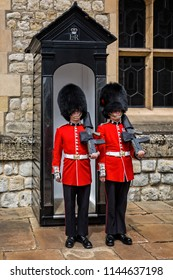 Pair of Guardsmen in Bearskin hats taken at the Tower of London, London, UK on 8 July 2017