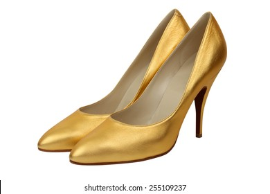 Pair of high heel gold women shoes isolated on white