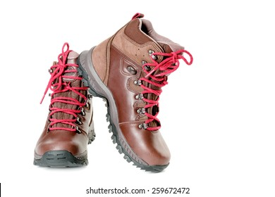 A pair of hiking boots. Isolated on white background
