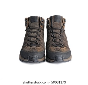 A pair of hiking boots isolated on white background.