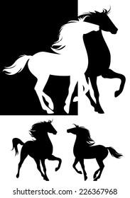 pair of horses silhouette design - beautiful animals black and white set