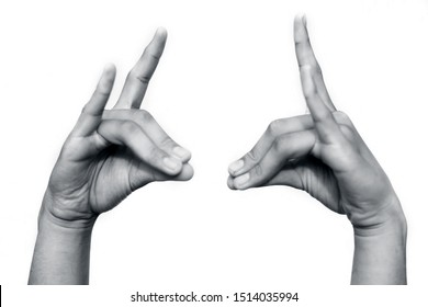 Pair of human hands isolated on white doing Apana Mudra Pose- Gesture Of The Vital Air Apana. Also Called Mudra Of Digestion, horizontal shot.