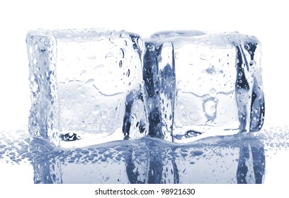 Pair of ice cubes with water drops isolated on white background