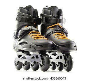 Pair of inline skates isolated on white background.