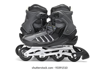 a pair of inline skates on a white background