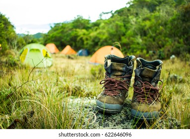 Pair of leather boots drying near a trekking campsite in the tropical forest