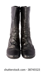 pair of leather boots on the isolated background