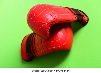 c00ef7df Pair of leather boxing sportswear. Boxing gloves in red color. Knock out  and strong