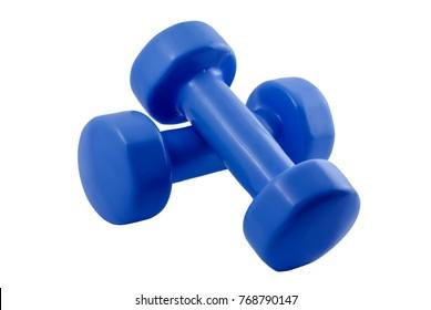 pair of light blue dumbbells for fitness isolated