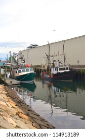 Pair of lobster boats moored at the dock for the day