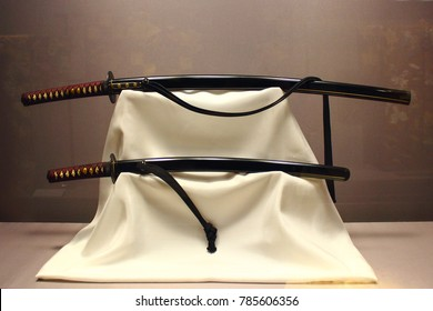 Pair of long and short swords ,Edo period ,19th century ,Forged iron ,lacquered wood ,rayskin ,cotton.