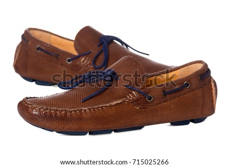1ccff4953f8 Pair of men s Leather boat fashion shoes with side view profile