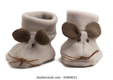 A pair of mouse baby shoes isolated on white background.