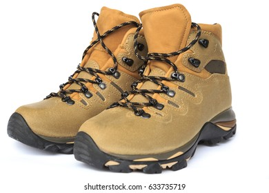 pair of new hiking boots on white