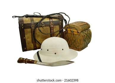 A pair of old cases for storing items, Pith helmet worn during explorations to protect the head from sun stroke, Large hunting knife made of metal and wood, Whip made of woven leather