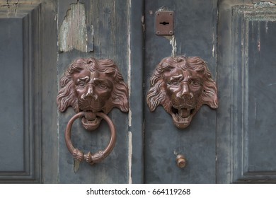 Pair of old door knockers in the form of lion head