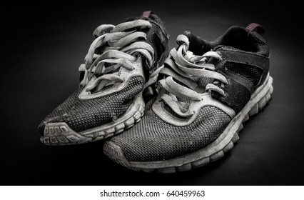 A pair of old running shoes