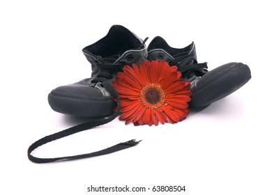 A pair of old shoes and a beautiful red flower isolated on white.