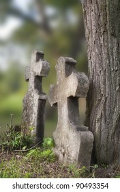 Pair of old tombstones in an old, abandoned cemetery, Hungary