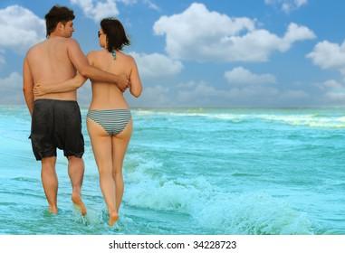 Pair on seacoast
