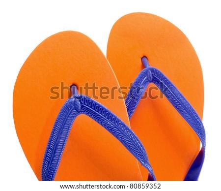 3df5b6e635cf Pair Orange Flipflops On White Background Stock Photo (Edit Now ...