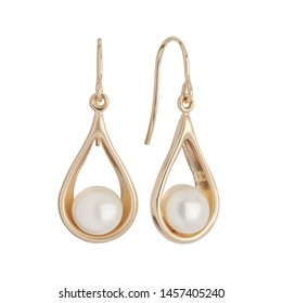 Pair of pearl earrings isolated on white background