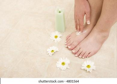 Pair of pedicured feet